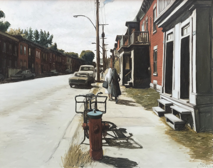 John Little 1928 - Septembre, rue Ste. Madeleine - Point St. Charles, Montreal, 1980 signed, 'JOHN/LITTLE' (recto, lower right); inscribed, signed and dated, 'September - Rue Ste Madeleine - Point St. Charles Mtl - JOHN LITTLE '80' (verso, upper horizontal stretcher) oil on canvas - huile sur toile 24 x 30 in 61 x 76.2 cm