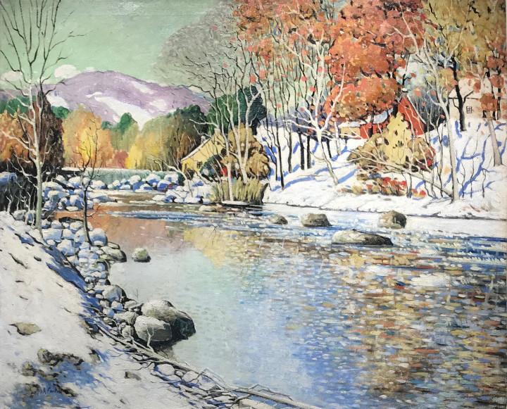 Marc-Aurèle Fortin Lafresnière, premières neiges, 1923-1928 (circa) Oil on canvas - Huile sur toile 39 x 48 in 99.1 x 121.9 cm