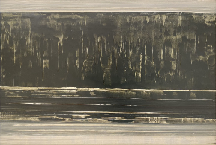 Jacques de Tonnancour Bord de lac, Reflet, 1966 Oil on masonite - Huile sur isorel 24 x 32 in 61 x 81.3 cm