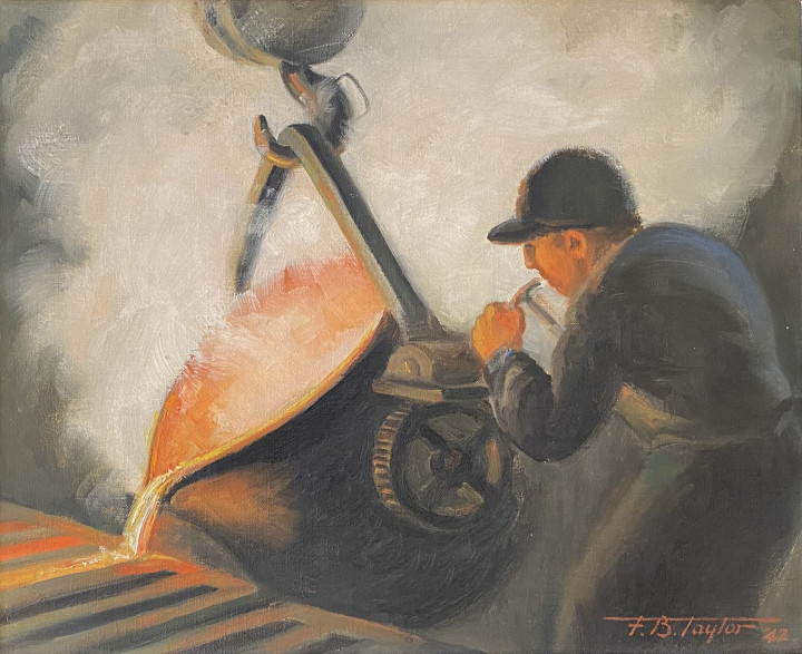 Frederick B. Taylor Pouring Residue Bronze into the Chill Moulds in the Brass Foundry, Dominion Engineering Works, Lachine, Quebec, 1942 Oil on canvas 13 x 16 in 33 x 40.6 cm