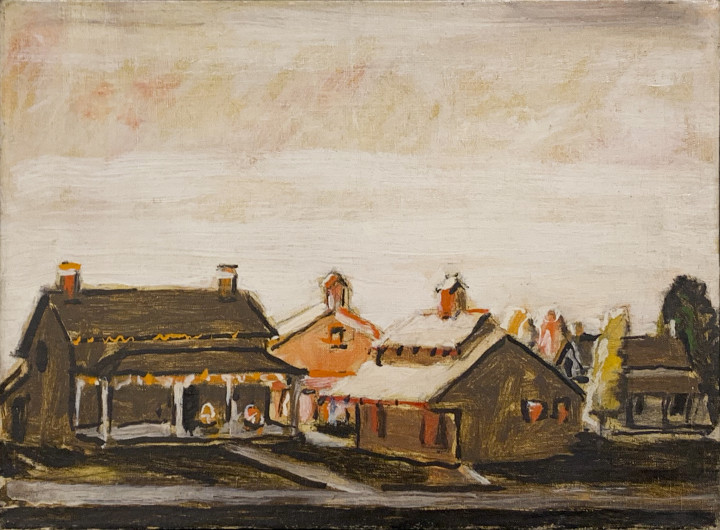 David Milne Houses, Uxbridge Ontario, 1944 Oil on canvas - huile sur toile 15 x 20 in 38.1 x 50.8 cm