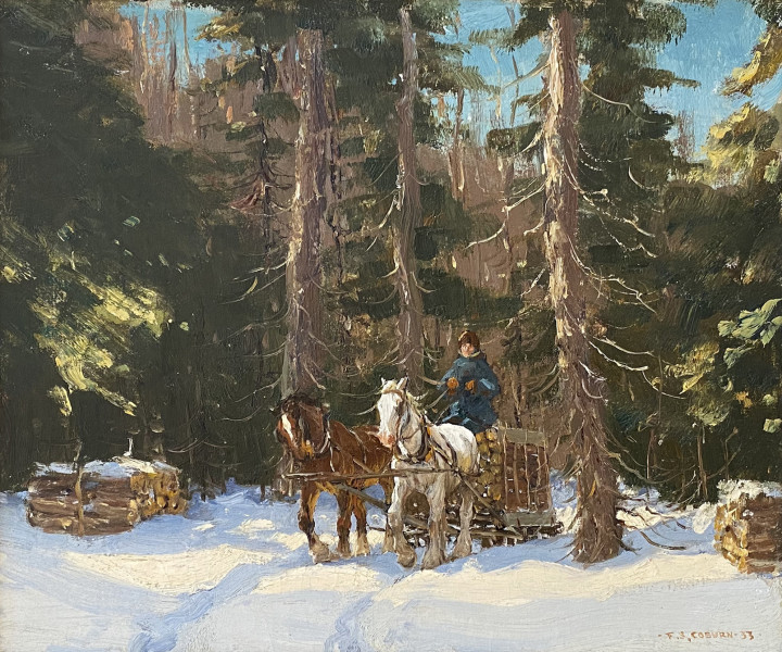 Frederick Simpson Coburn Logging in Winter, 1933 Oil on canvas 12 x 14 in 30.5 x 35.6 cm