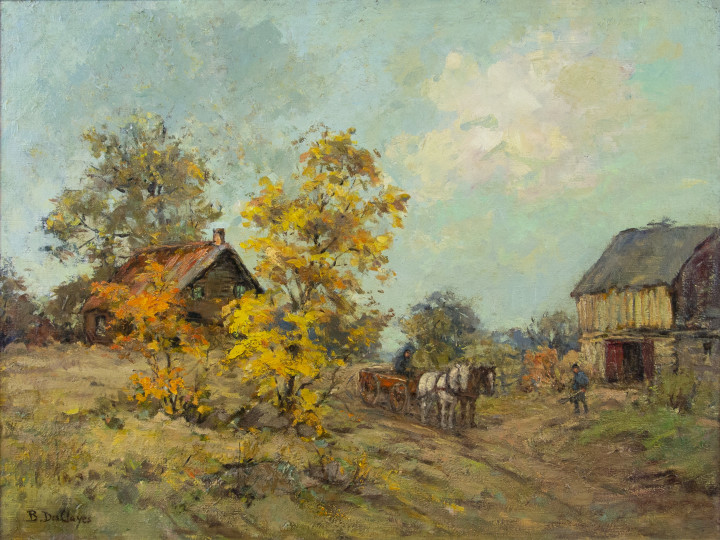 Berthe Des Clayes Autumn, Eastern Townships Oil on board - Huile sur carton 18 x 24 in 45.7 x 61 cm
