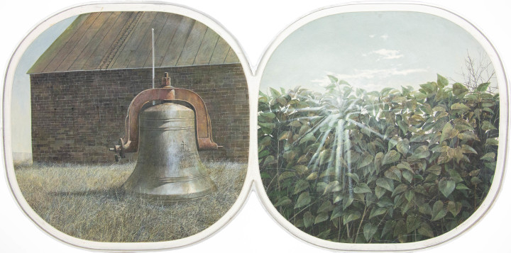 Tom Forrestall Bell and Hedge, 1972 (June-July) Egg tempera on adjoined diptych Masonite panels 28 1/4 x 57 3/4 in 71.8 x 146.7 cm