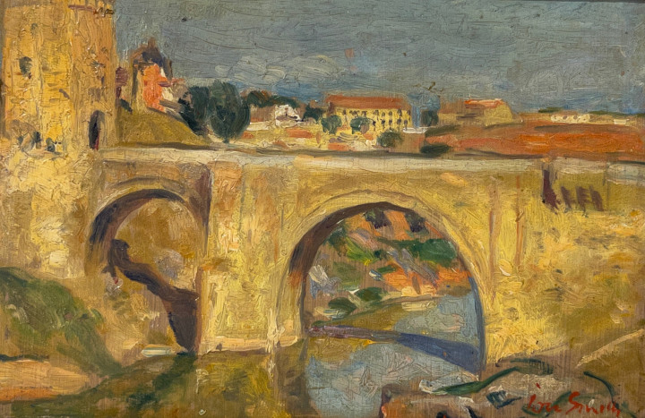 Jori Smith Toledo, Bridge on the Tagus , 1951 (September 24) Oil on board - huile sur panneau 4 3/8 x 6 1/4 in 11 x 16 cm