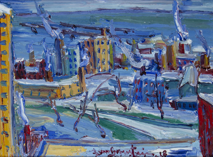Sam Borenstein Montreal General Hospital from the 19th floor, 1968 Oil on board 12 x 16 in 30.5 x 40.6 cm