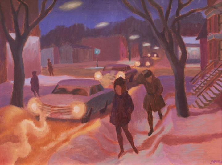 Philip Surrey Winter Night, 1965 (circa) Oil on masonite 12 x 16 in 30.5 x 40.6 cm