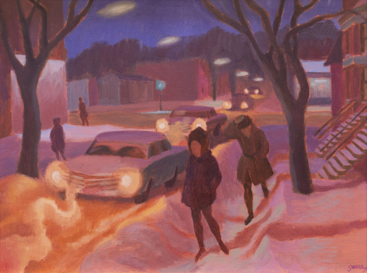 Philip Surrey Winter Night, 1965 (circa) Oil on masonite - Huile sur isorel 12 x 16 in 30.5 x 40.6 cm