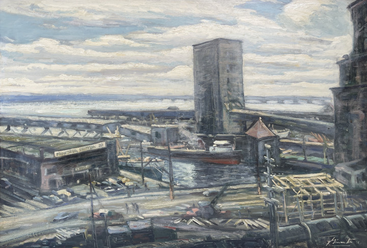 Joseph Giunta Port of Montreal from Bonsecours, 1956 Oil on panel 24 x 36 in 61 x 91.4 cm