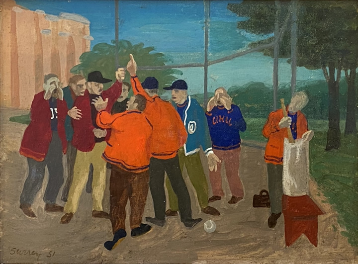 Philip Surrey The Argument, 1951 Oil and tempera on board 5 3/4 x 7 3/4 in 14.6 x 19.7 cm