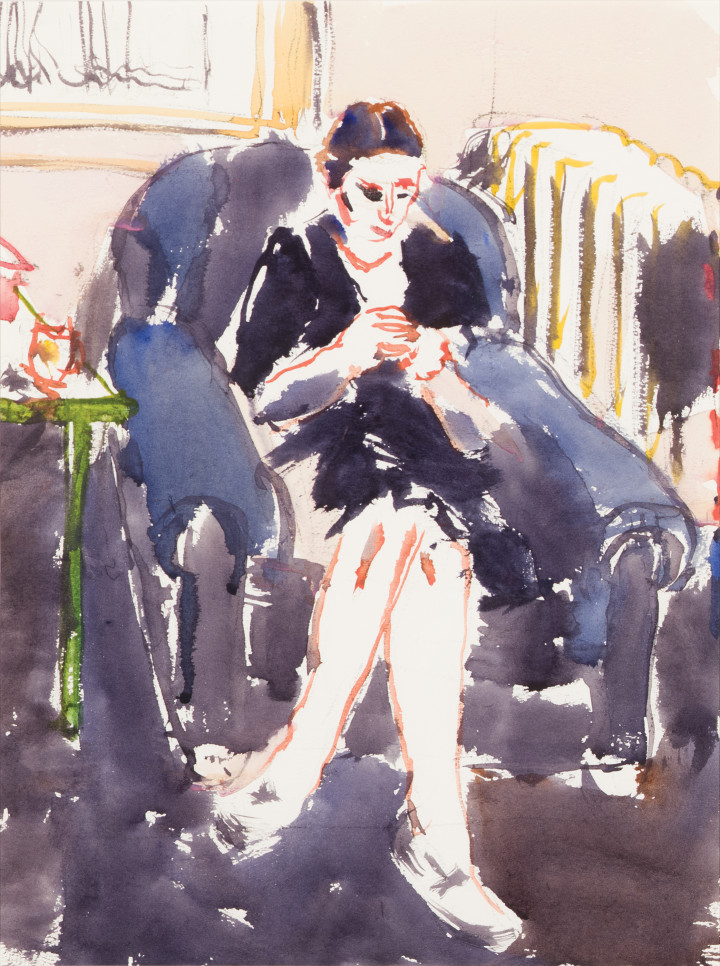 David Milne Sewing I (Toronto), 1940 Watercolour on paper 15 x 11 1/8 in 38.1 x 28.3 cm This work is included in the David B. Milne Catalogue Raisonne of the Paintings compiled by David Milne Jr. and David P. Silcox, vol. 2, no.401.40.