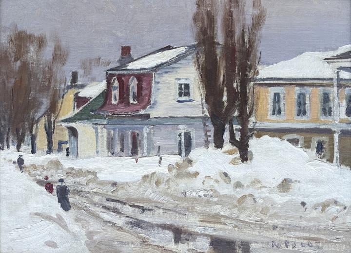 Robert Pilot Village Street, Baie St. Paul P.Q., 1951 Oil on canvas board 12 1/8 x 16 3/8 in 30.8 x 41.6 cm