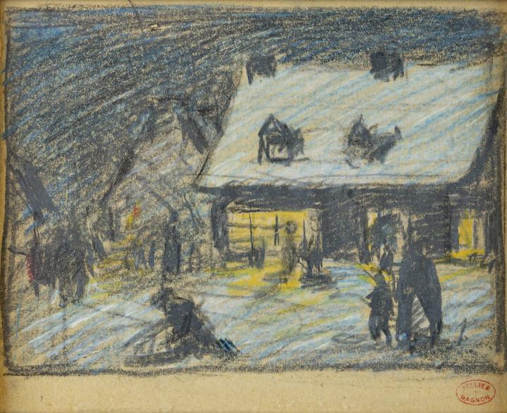 Clarence A. Gagnon Scène de Baie Saint-Paul Gouache 4 1/2 x 6 in 11.4 x 15.2 cm