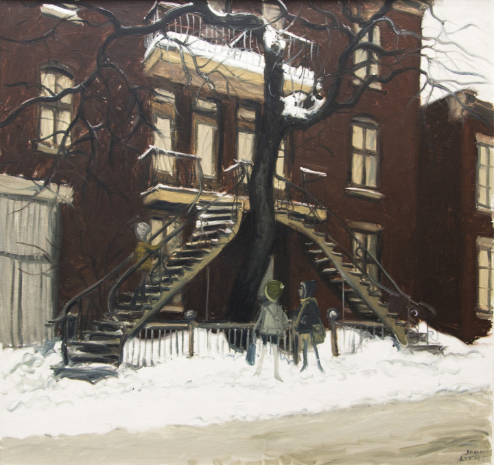 John Little Escaliers Tournent, Pointe St. Charles, Montreal [sic], 1969 Oil on canvas 28 x 30 in 71.1 x 76.2 cm