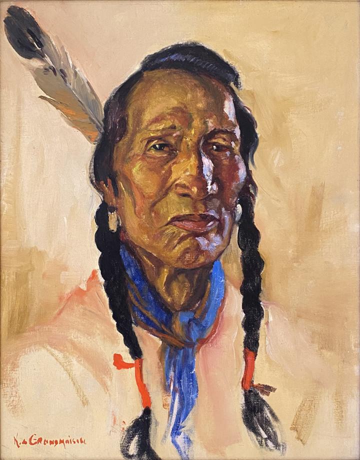 Nicholas de Grandmaison Indian Chief , 1942 (circa) Oil on canvas board - Huile sur toile marouflée sur carton 19 x 14 3/4 in 48.3 x 37.5 cm