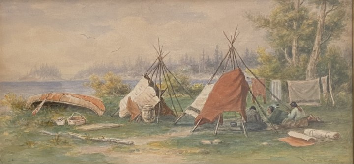 Frederick A. Verner, Indian Campement, North Shore, Lake Huron, 1902
