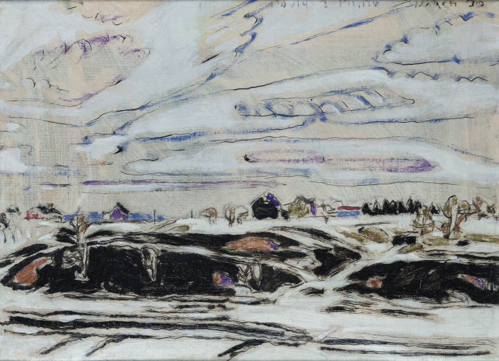 David Milne First Bare Ground (Weston, Ontario), 1930 (March) Oil on canvas 16 1/4 x 22 in 41.3 x 55.9 cm This work is included in the David B. Milne Catalogue Raisonne of the Paintings compiled by David Milne Jr. and David P. Silcox, Vol. 2, no. 301.11.