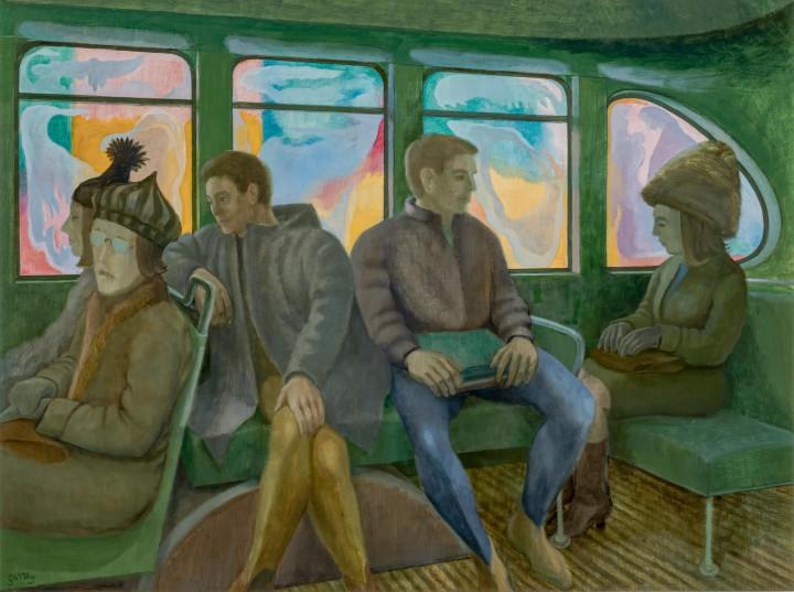 Philip Surrey Bus Interior, 1965 (circa) Oil on board 24 x 32 in 61 x 81.3 cm