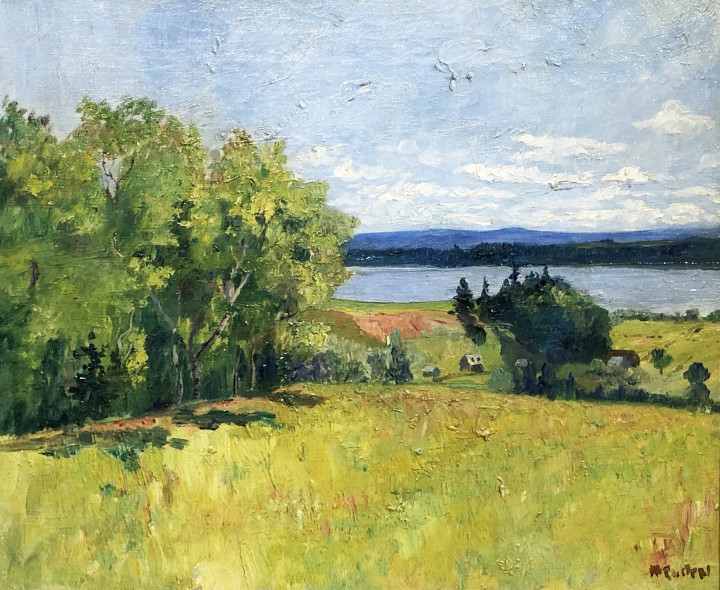 Maurice Cullen Looking over the Island of Orleans, Quebec, 1896 Oil on canvas - Huile sur toile 13 x 16 in 33 x 40.6 cm Alan Klinkhoff Gallery Maurice Cullen Inventory No. AK0860.