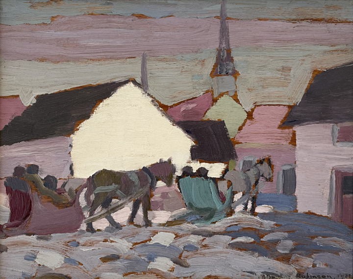 Albert H. Robinson Going to Mass, Cacouna, 1921 Oil on panel 8 1/8 x 10 1/2 in 20.6 x 26.7 cm