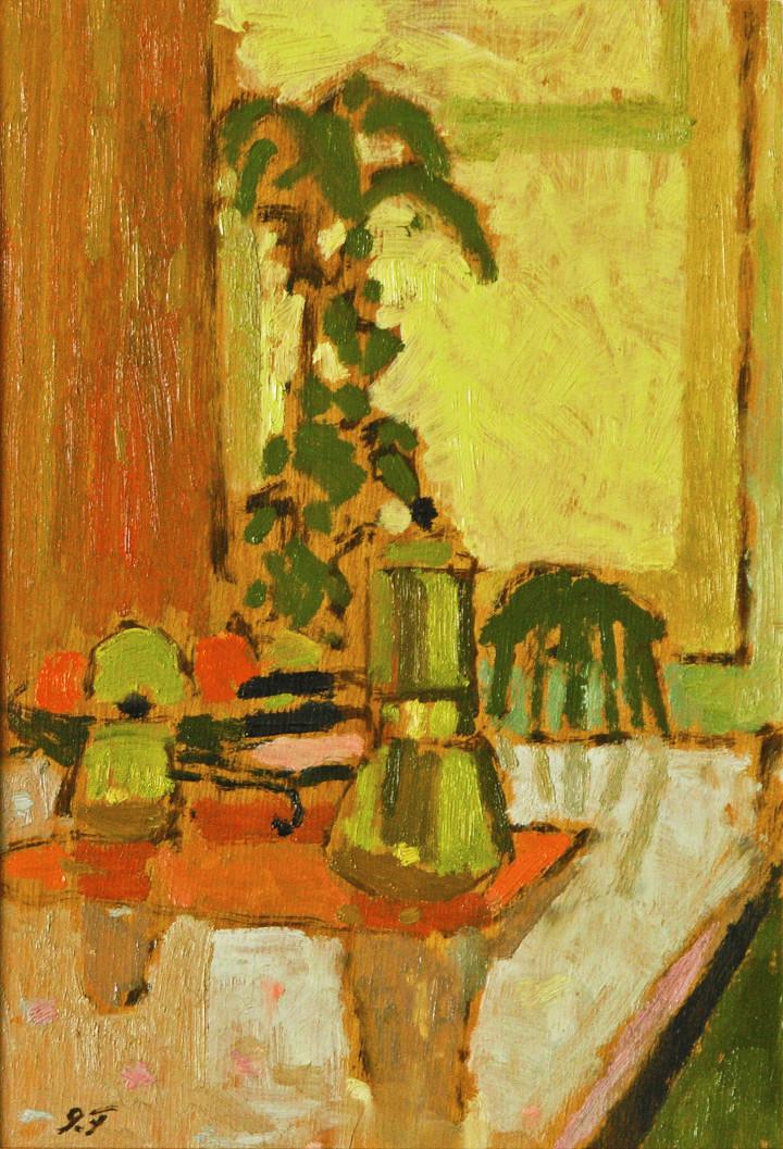 John Fox Still Life with Coffee Pot , 1961 Oil on panel 10 x 7 in 25.4 x 17.8 cm