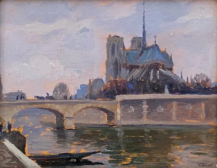 Robert Pilot Cathédrale Notre-Dame-de-Paris, view from quai de la Tournelle, 1921 (circa) Oil on panel 5 x 7 in 12.7 x 17.8 cm