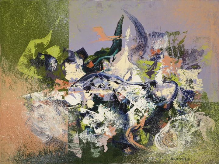Léon Bellefleur Surf (Ressac), 1977 Oil on canvas - Huile sur toile 35 1/8 x 45 5/8 in 89 x 116 cm