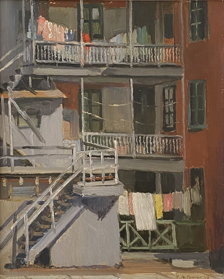 Frederick B. Taylor Back Galleries, Dorchester Street, 1958 (May 12) Oil on panel 10 3/8 x 8 3/8 in 26.4 x 21.3 cm