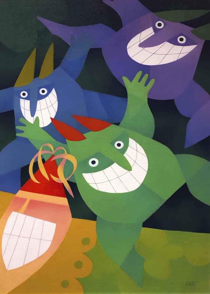 Claude Le Sauteur Rire en cœur - Laughing in unison, 2001 Oil on canvas - huile sur toile 36 x 24 in 91.4 x 61 cm