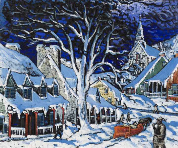 Marc-Aurèle Fortin Canadian Village, Winter, 1934-1935 Oil on hardboard 28 3/4 x 34 1/2 in 73 x 87.6 cm