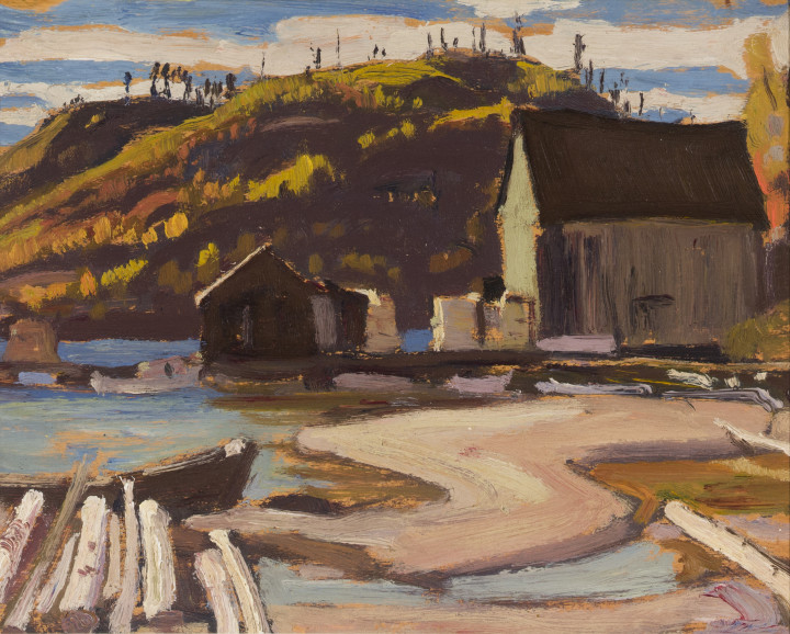 A.Y. Jackson The Ice House, Port Coldwell, Lake Superior, 1925 Oil on wood 8 1/2 x 10 1/2 in 21.6 x 26.7 cm