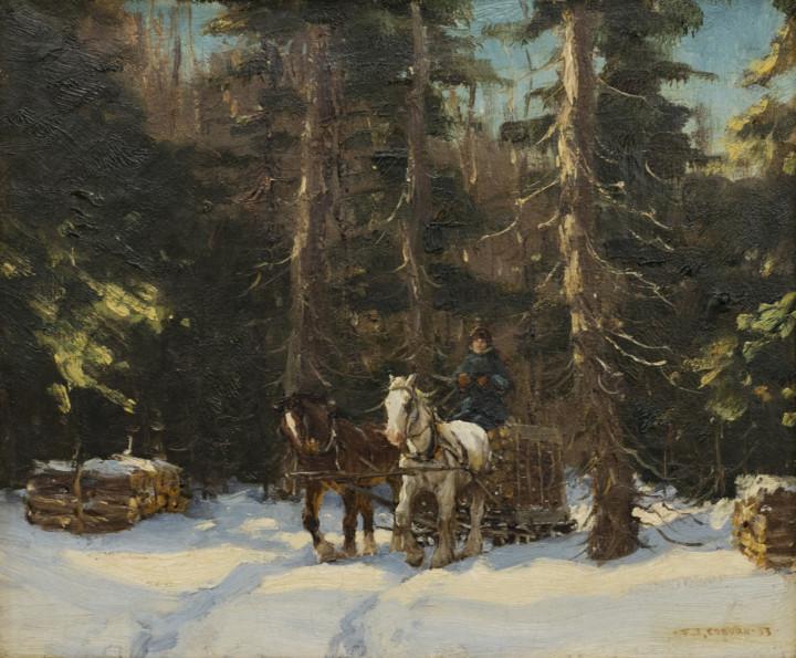 Frederick Simpson Coburn Logging in Winter, 1933 Oil - Huile 12 x 14 in 30.5 x 35.6 cm