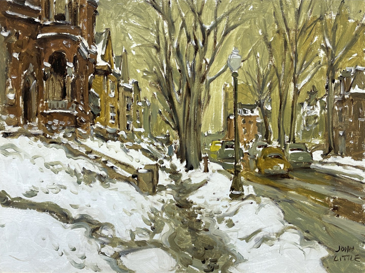 John Little Old McGregor Street, Montreal, 1965 (9 December) Oil on canvas board - Huile sur toile marouflée sur carton 12 x 16 in 30.5 x 40.6 cm