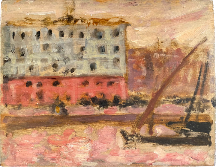 James Wilson Morrice A Canal at Sunset (Marseilles), 1904 (Summer, Circa) Oil on panel 4 3/4 x 6 in 12.1 x 15.2 cm