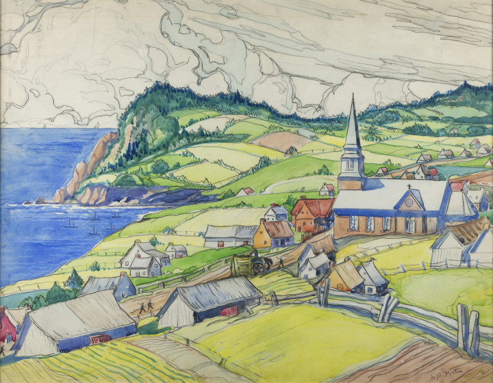 Marc-Aurèle Fortin Anse Aux Gascons (Gaspésie), 1942 Watercolour 21 x 28 in 53.3 x 71.1 cm