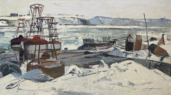 Lorne Bouchard Approach of Spring (Quebec), March 1959 Oil on panel 20 x 36 in 50.8 x 91.4 cm
