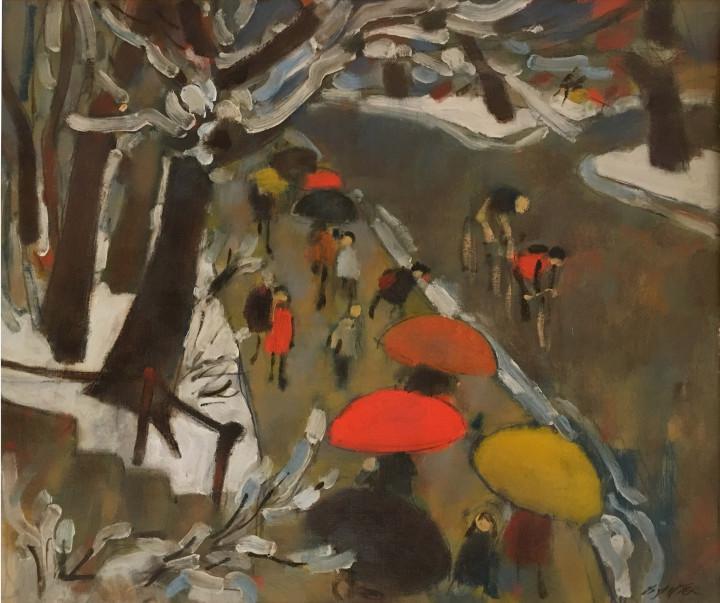 William Winter 1909-1996Umbrellas signed. l.r.: 'WINTER' (recto, lower right) Oil on canvas 20 x 24 in 50.8 x 61 cm