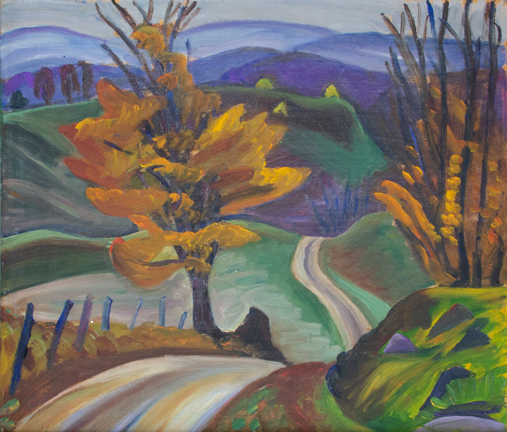 Prudence Heward Autumn Road in Knowlton, 1932 (circa) Oil on panel - Huile sur panneau 12 x 14 1/8 in 30.5 x 35.9 cm