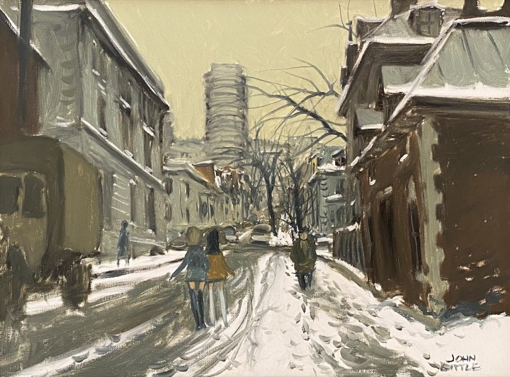 John Little Stanley St. at Sherbrooke St. Montreal, 1969 Oil on canvas 12 x 16 in 30.5 x 40.6 cm