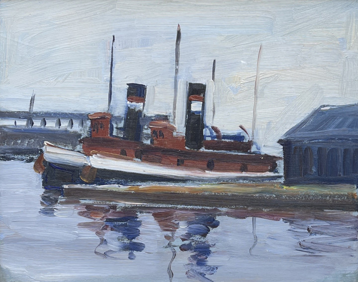 H. Leslie Smith Tugs at Montreal Harbour Oil on wood panel 8 x 10 in 20.3 x 25.4 cm