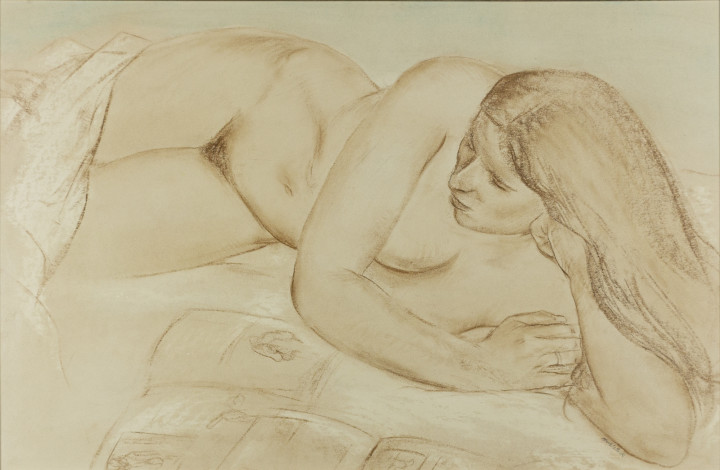 Louis Muhlstock [Nude] Pastel on paper 21 x 32 in 53.3 x 81.3 cm