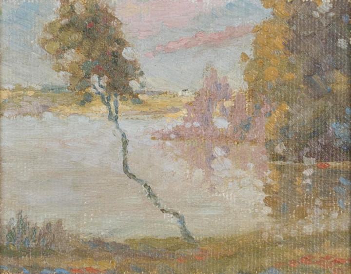 Lionel LeMoine FitzGerald Manitoba Scene Oil on canvas board 4 1/2 x 5 1/2 in 11.4 x 14 cm