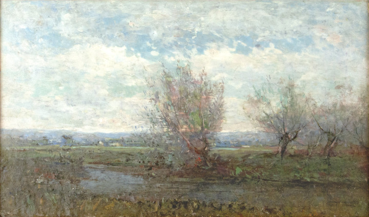 Percy Woodcock Quebec Landscape Oil on board - Huile sur panneau 7 1/2 x 12 1/4 in 19.1 x 31.1 cm