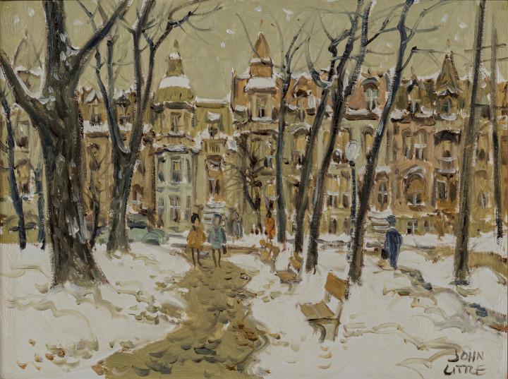 John Little Carré St. Louis, Montréal, 1963 Oil on canvas board 12 x 16 in 30.5 x 40.6 cm