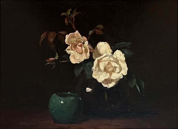 Frederick Simpson Coburn Still Life of Roses (with Malvina Scheepers), 1916 Oil on wood board 10 3/8 x 14 5/8 in 26.4 x 37.1 cm