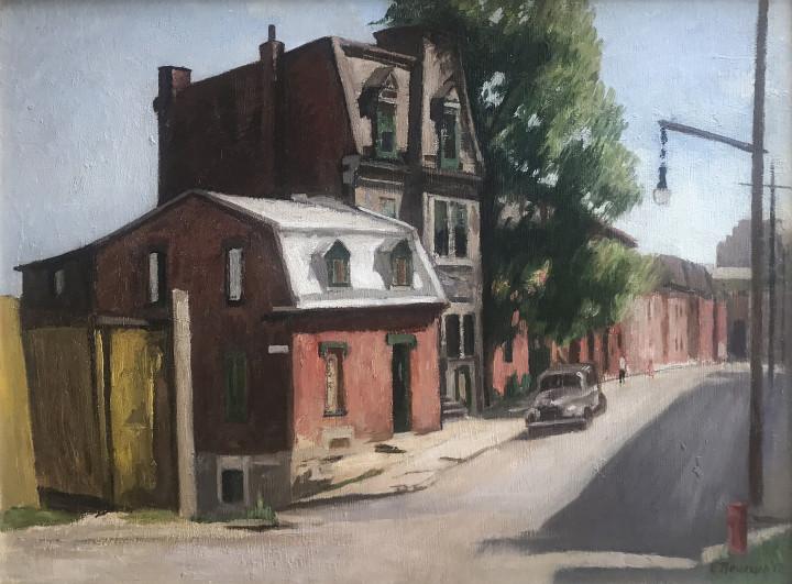 Ernst Neumann Saint-Norbert Street at de Bullion Looking West, 1952 Oil on masonite - huile sur isorel 18 x 23 7/8 in 45.7 x 60.6 cm