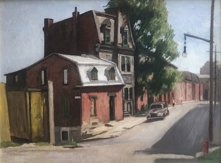 Ernst Neumann Saint-Norbert Street at de Bullion Looking West, 1952 Oil on masonite - huile sur isorel 18 x 23 7/8 in 45.7 x 60.6 cm