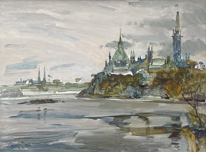 Bruce Le Dain View from Victoria Island, Ottawa Oil on panel 12 x 16 in 30.5 x 40.6 cm
