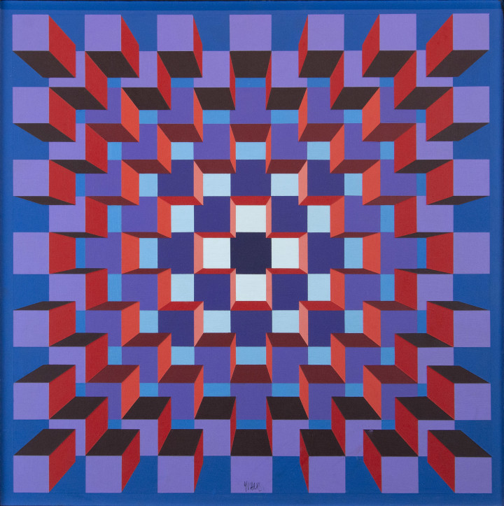 Yvaral (Jean-Pierre Vasarely) Structure Cubique BRV, 1973 Acrylic on canvas - Acrylique sur toile 19 3/4 x 19 3/4 in 50.2 x 50.2 cm