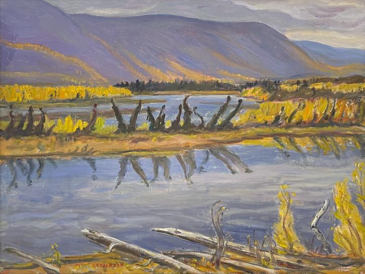 A.Y. Jackson Beaver Lake, Alaska Highway , 1964 Oil on canvas 25 x 33 1/4 in 63.5 x 84.5 cm